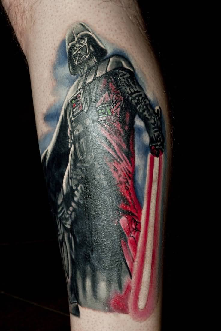 55b4572427 Amazing Stars Wars Darth Vader With Lightsaber In Hand Tattoo On Leg