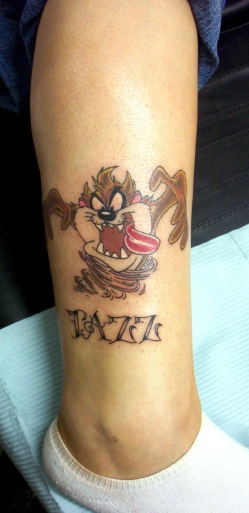 tasmanian devil tattoo on front shoulder. Black Bedroom Furniture Sets. Home Design Ideas