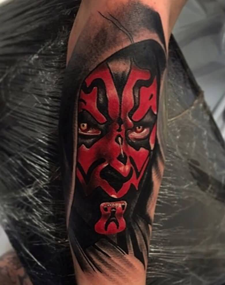 3c80888123 Black And Red Star Wars Darth Vader Tattoo On Full Sleeve