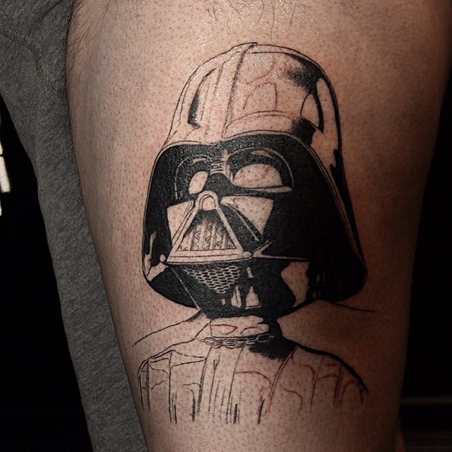 c85194b77e Black And Red Star Wars Darth Vader Tattoo On Full Sleeve. Black And White Darth  Vader Tattoo On Arm Sleeve