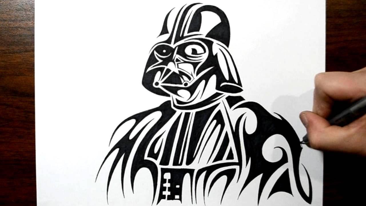 3918b5922 Black Tribal Darth Vader Tattoo Design