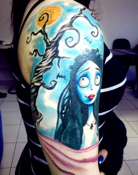 blue ink corpse bride tattoo on girl shoulder. Black Bedroom Furniture Sets. Home Design Ideas