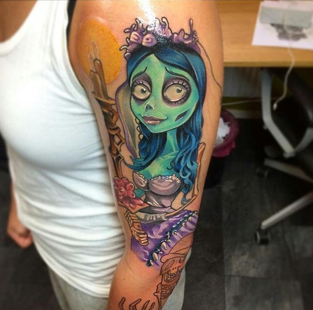 colored corpse bride tattoo on left bicep. Black Bedroom Furniture Sets. Home Design Ideas