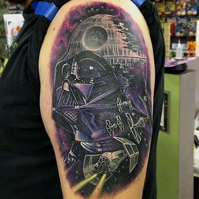 646eb71042 Colorful Darth Vader Tattoo On Man Left Half Sleeve