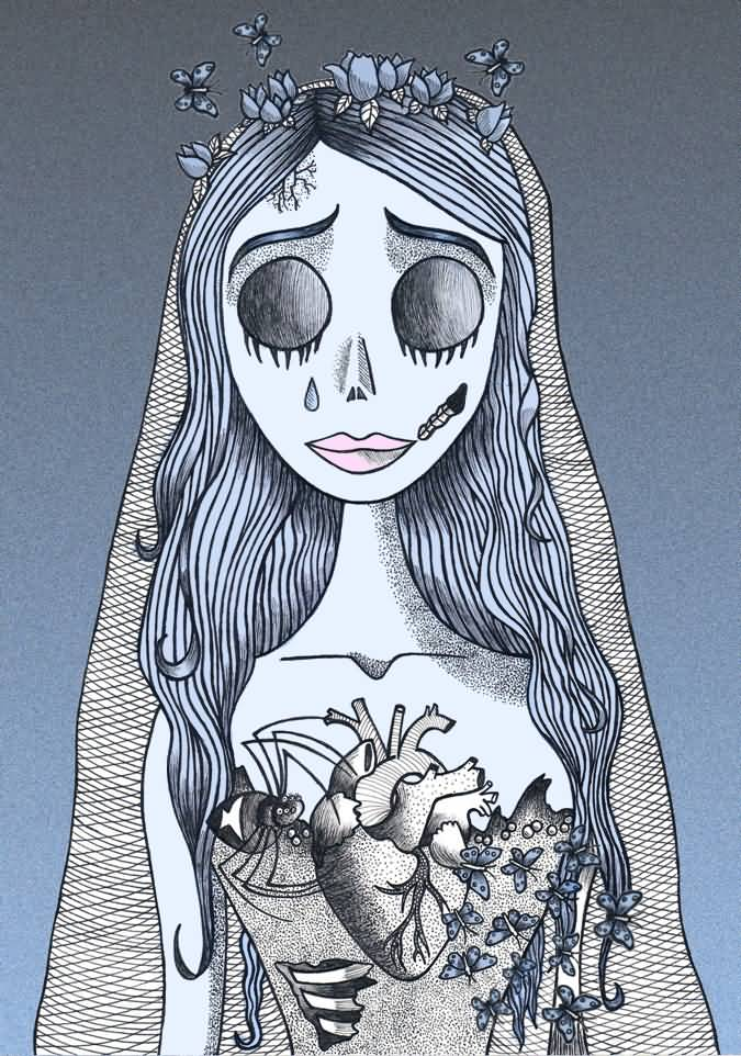 outline corpse bride tattoo design by yurchan