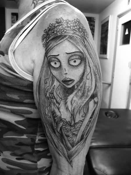 Grey Corpse Bride Tattoo On Half Sleeve