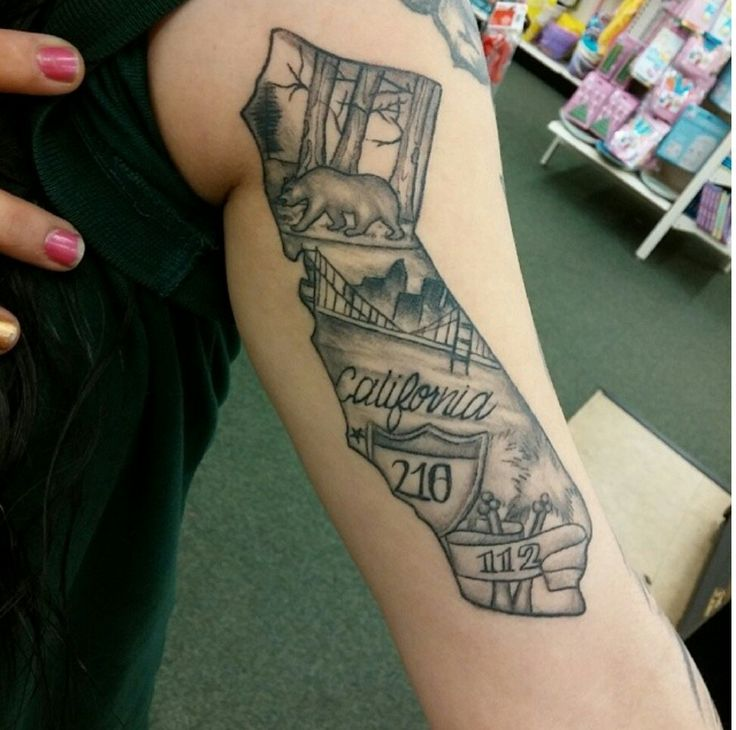 Grey Ink California Tattoo On Left Inner Bicep
