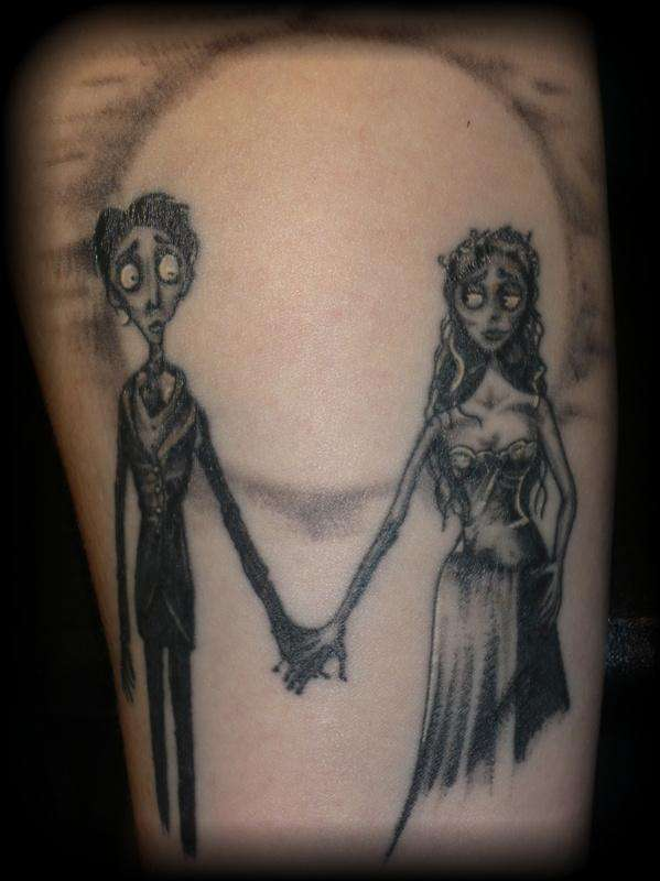 Grey ink corpse bride tattoo design idea