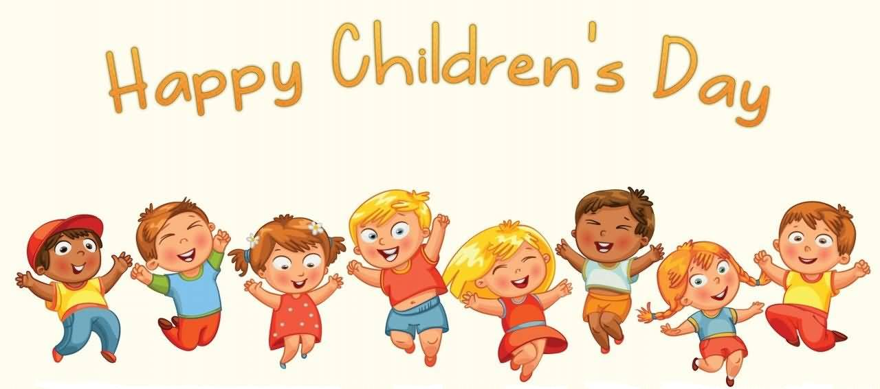 happy childrens day cute cartoon kids facebook cover picture