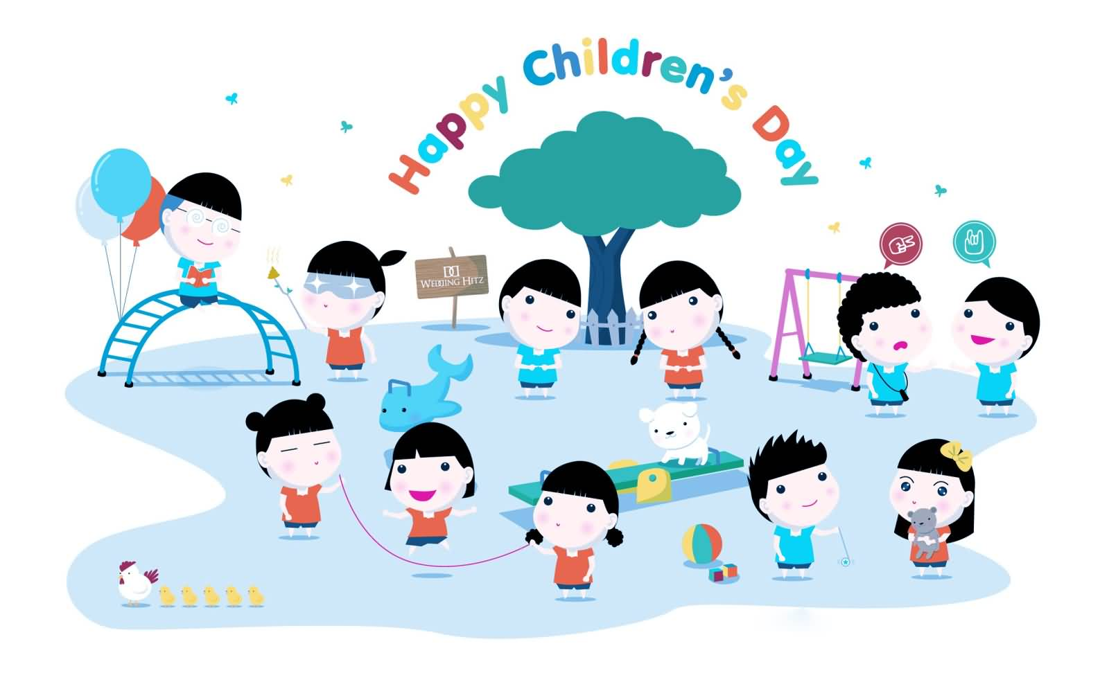 happy childrens day playing kids cartoon picture