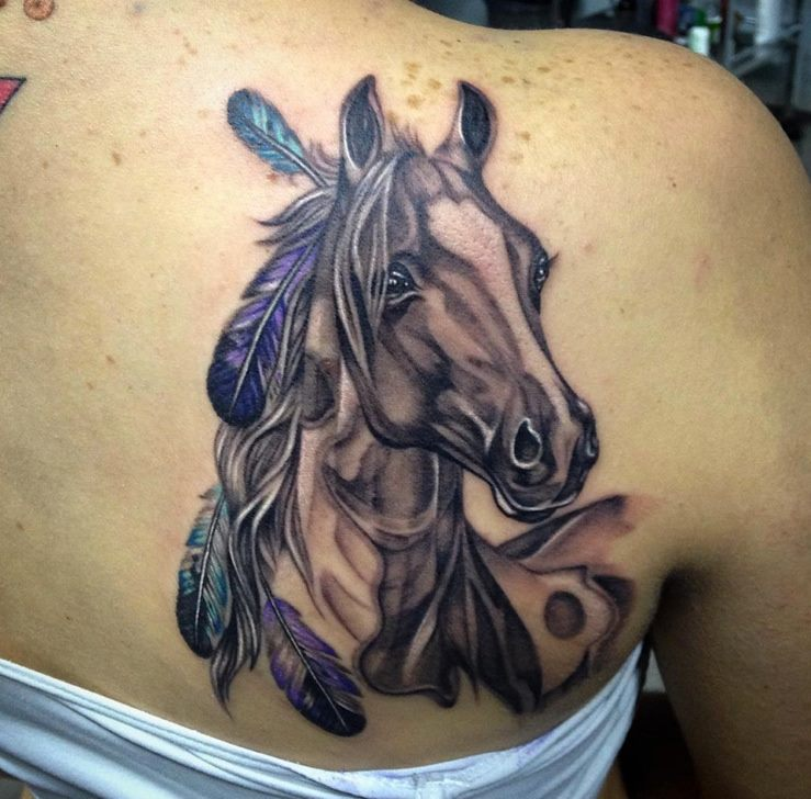 629cdd27e Native Horse Tattoo On Right Back Shoulder by Angry Mom Tattoo Studio