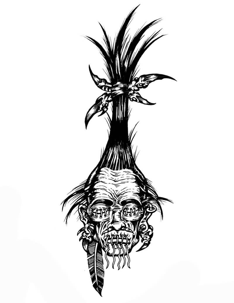 shrunken head tattoo design by hot4creature. Black Bedroom Furniture Sets. Home Design Ideas
