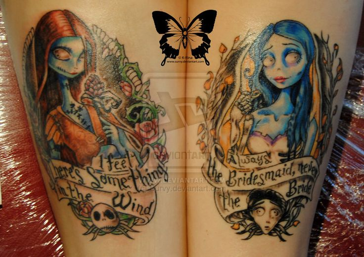 Nightmare before christmas and corpse bride tattoos on both forearm