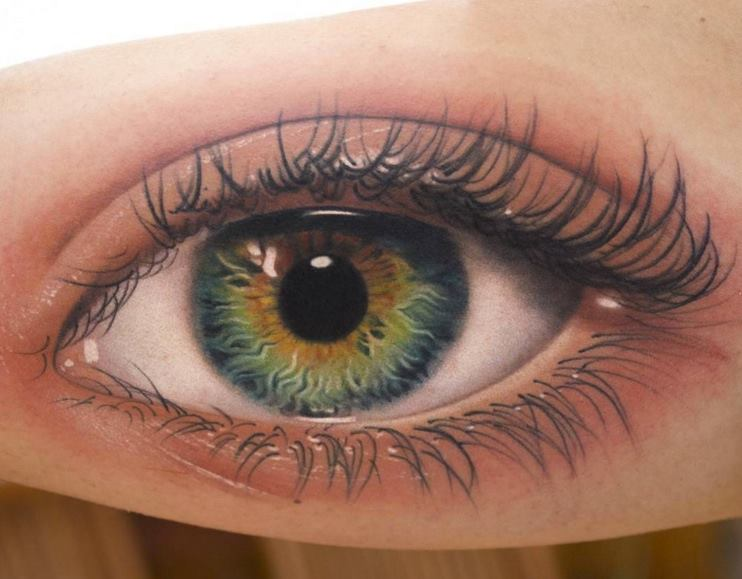 realistic eye tattoo on bicep by amayra. Black Bedroom Furniture Sets. Home Design Ideas