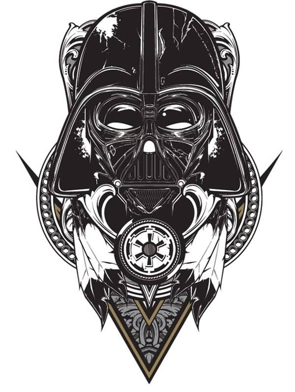 29 darth vader helmet tattoos and designs for Darth vader black and white