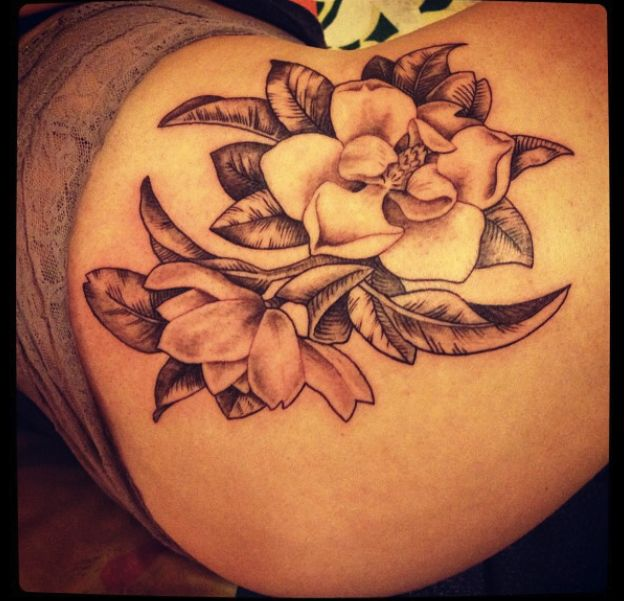 20 Black And White Magnolia Tattoos