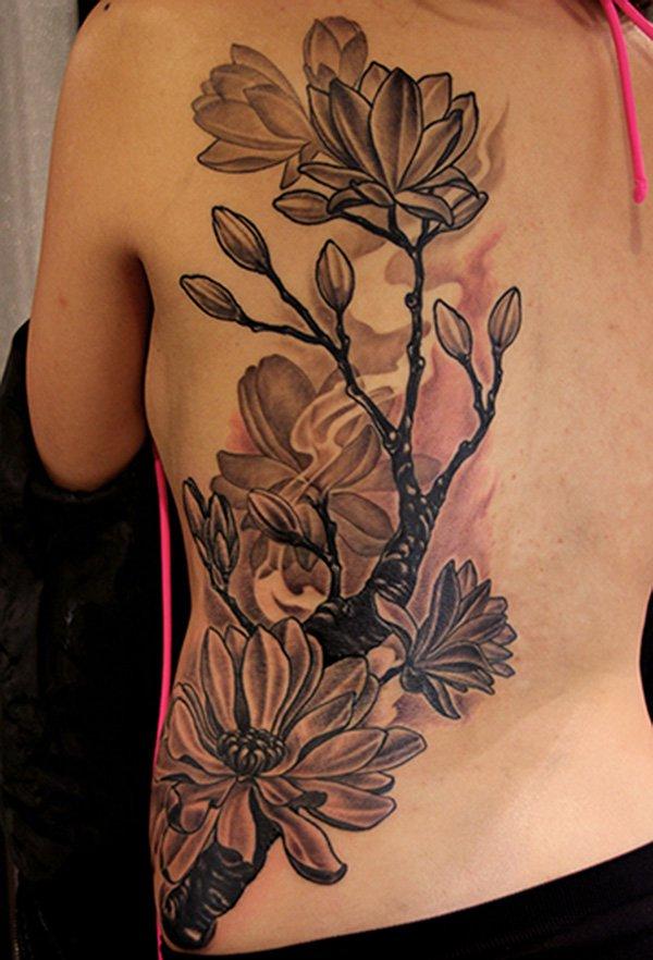 20 Black And White Magnolia Tattoos
