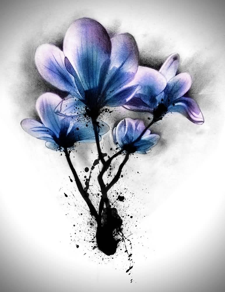 25 Watercolor Magnolia Tattoos And Designs