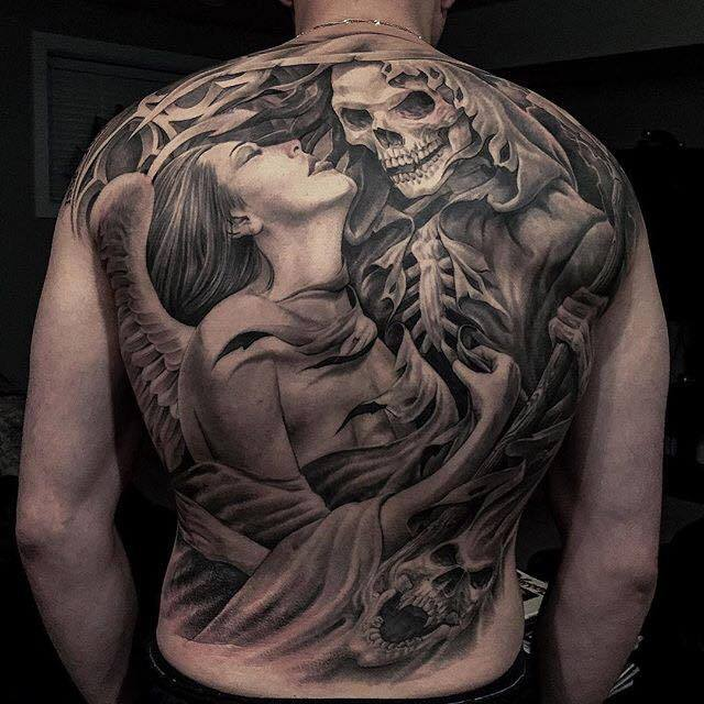 4 scary tattoos on full back by greg nicholson. Black Bedroom Furniture Sets. Home Design Ideas