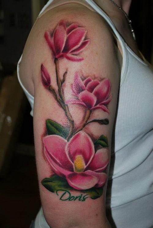 Magnolia Tattoo On Right Half Sleeve