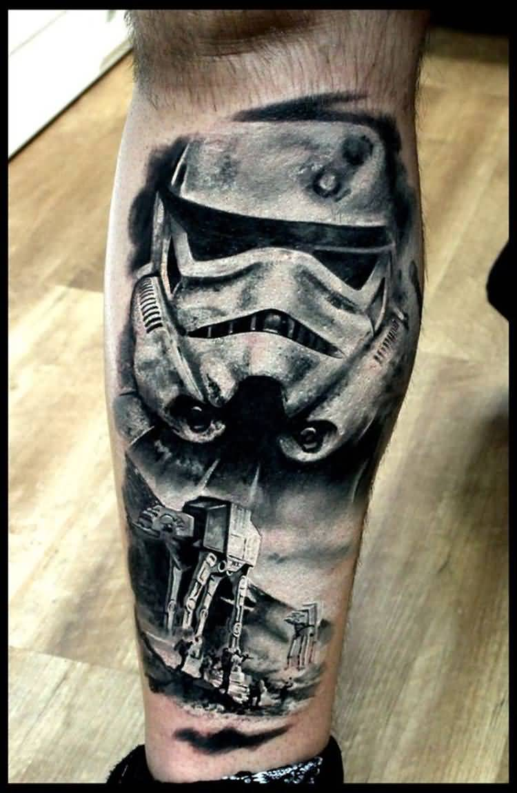 grey ink stormtrooper tattoo on right leg. Black Bedroom Furniture Sets. Home Design Ideas