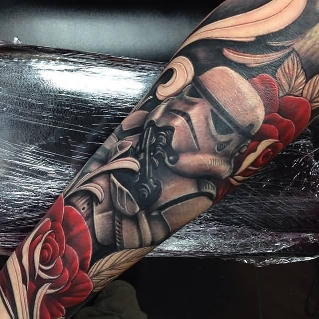 Red Rose Flower Stormtrooper Tattoo On Full Sleeve