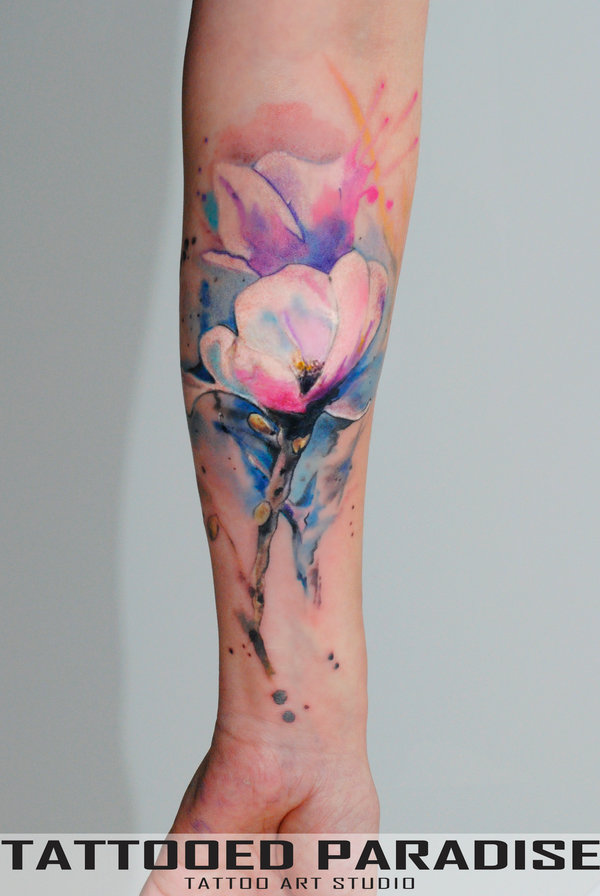 8ed131c72 Watercolor Magnolia Tattoo On Left Forearm by Dopeindulgence
