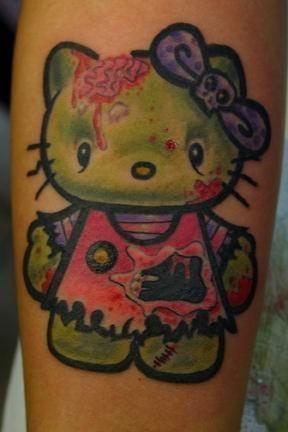 140394fd1a127 Amazing Zombie Hello Kitty Tattoo On Forearm