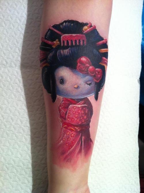b75d9771f8fba Beautiful Hello Kitty Geisha Tattoo On Sleeve