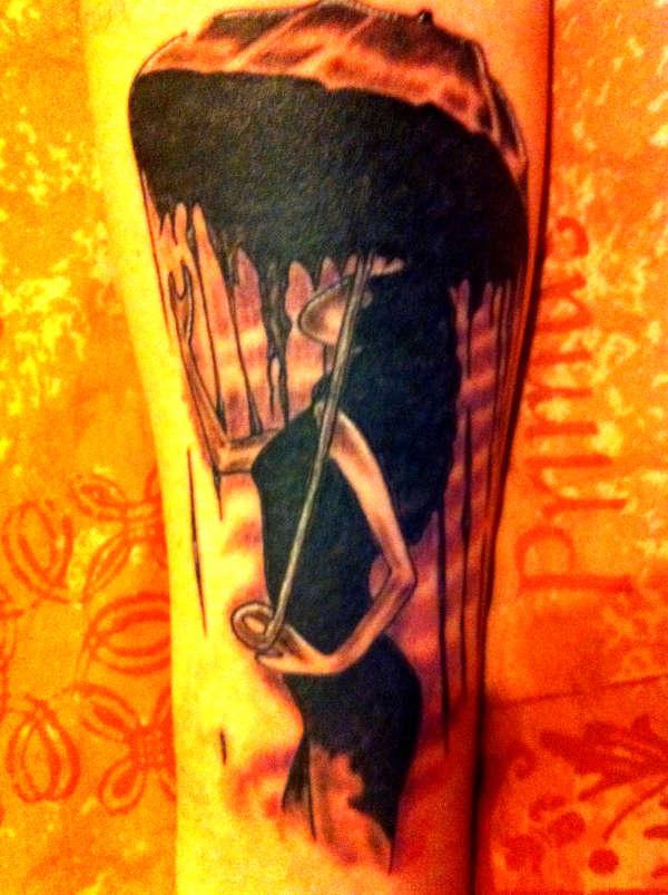 22 awesome umbrella girl tattoos for Female silhouette tattoo