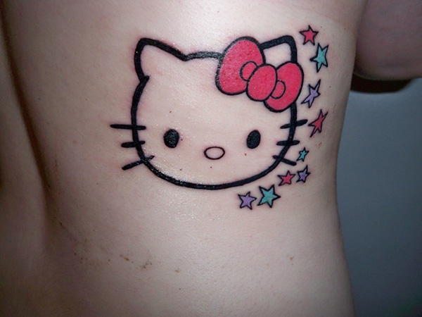 235566659 Colored Stars And Outline Hello Kitty Head Tattoo On Side Rib