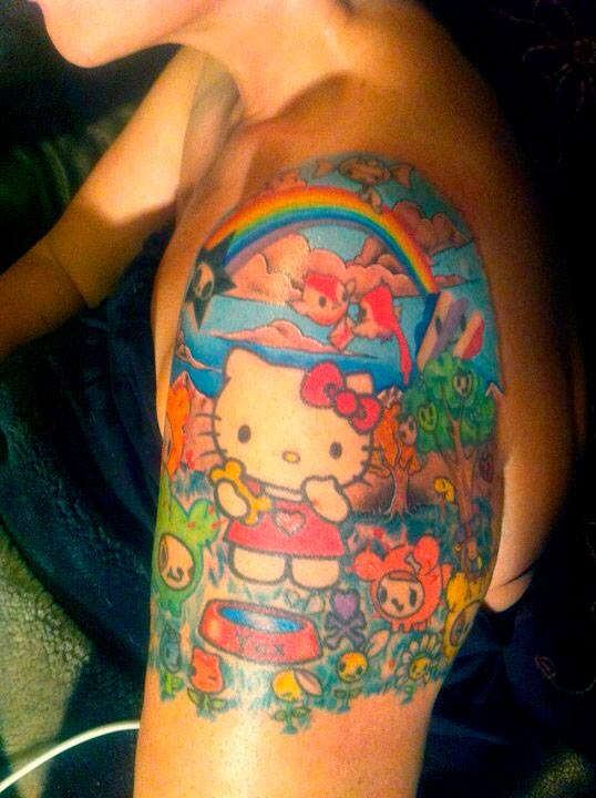 9ab6e5a1d7554 Colorful Hello Kitty Tattoo On Left Shoulder