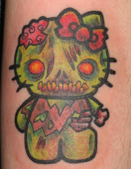 95264680a8141 Green Ink Zombie Hello Kitty Tattoo by Evldemon