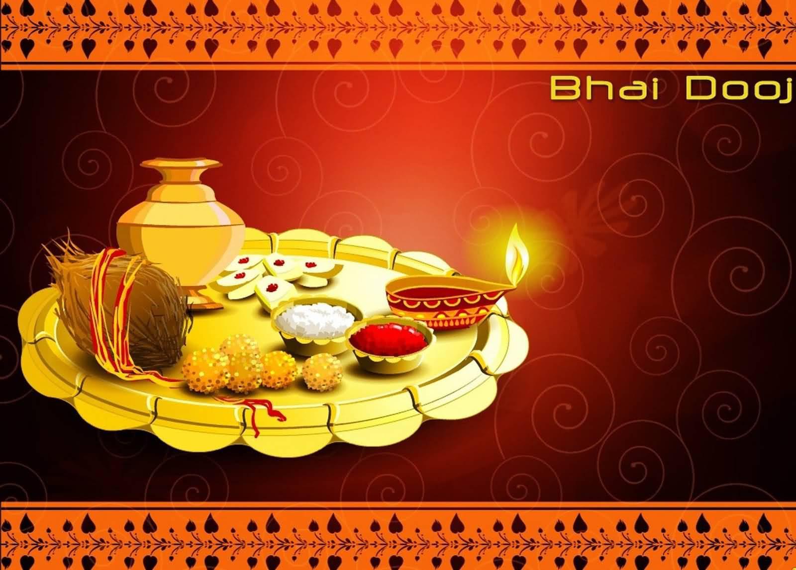 High Resolution Diwali Wallpapers: Happy Bhai Dooj Beautiful Pooja Thali Greeting Card