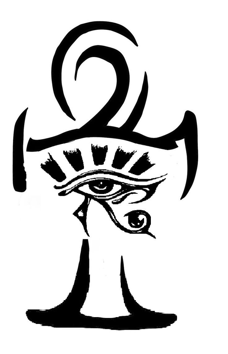 Outline Ankh And Horus Eye Tattoo Design