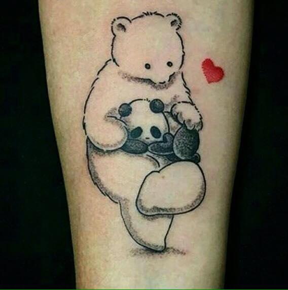 Cute tribal panda with baby tattoo design for Baby panda tattoo