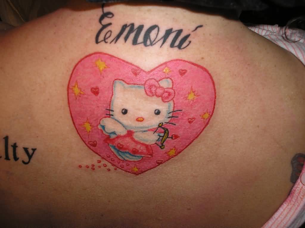 83a7f8f5c Pink Heart And Hello Kitty Tattoo On Upper Back