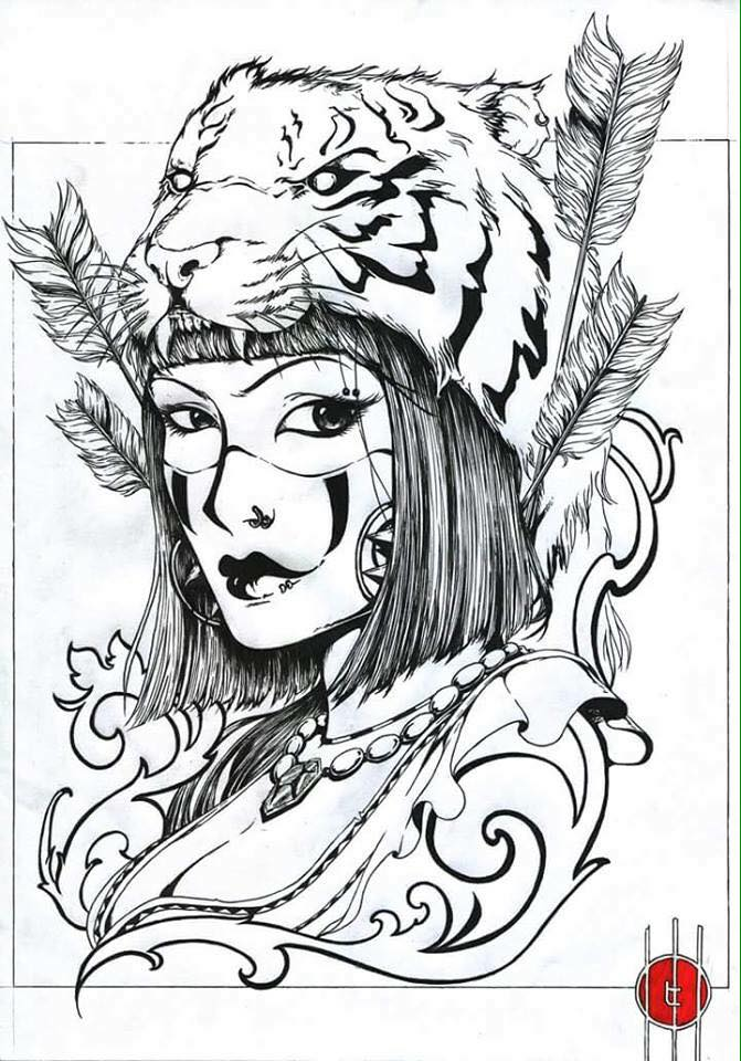 Tiger Head Girl Tattoo Design
