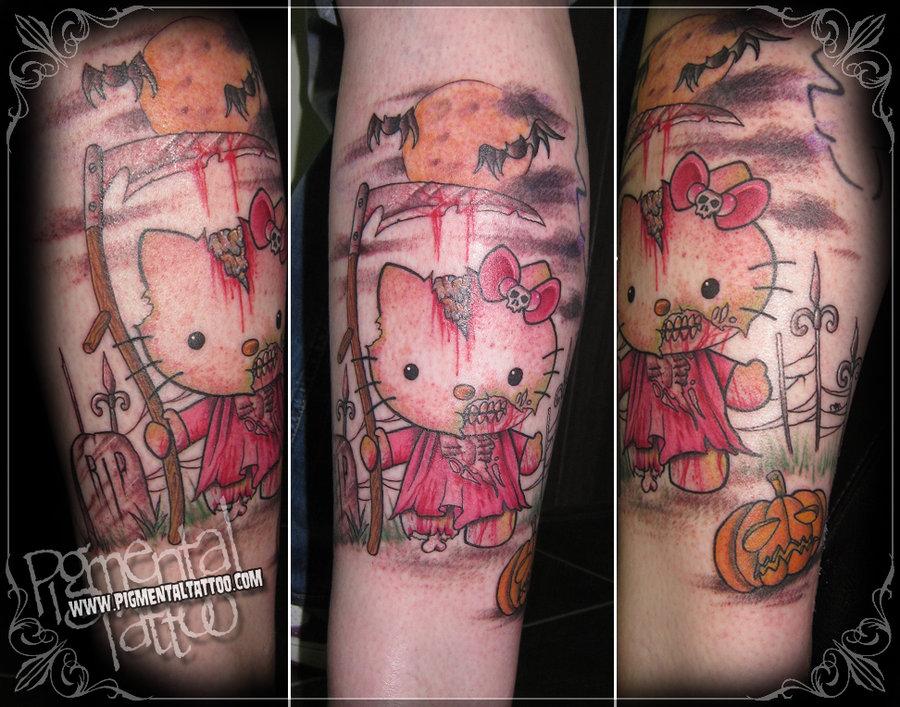 5390461b3fa6e Zombie Hello Kitty Tattoo Design Idea by Pigmentaltattoo