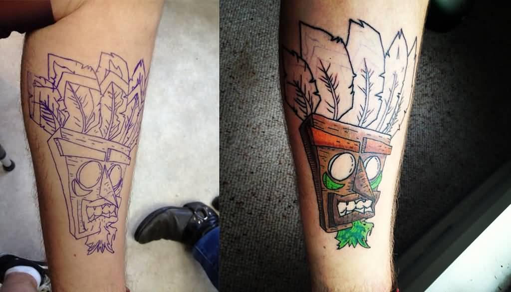 Crash bandicoot aku aku tattoo sample by supermanosbros for Crash bandicoot tattoo