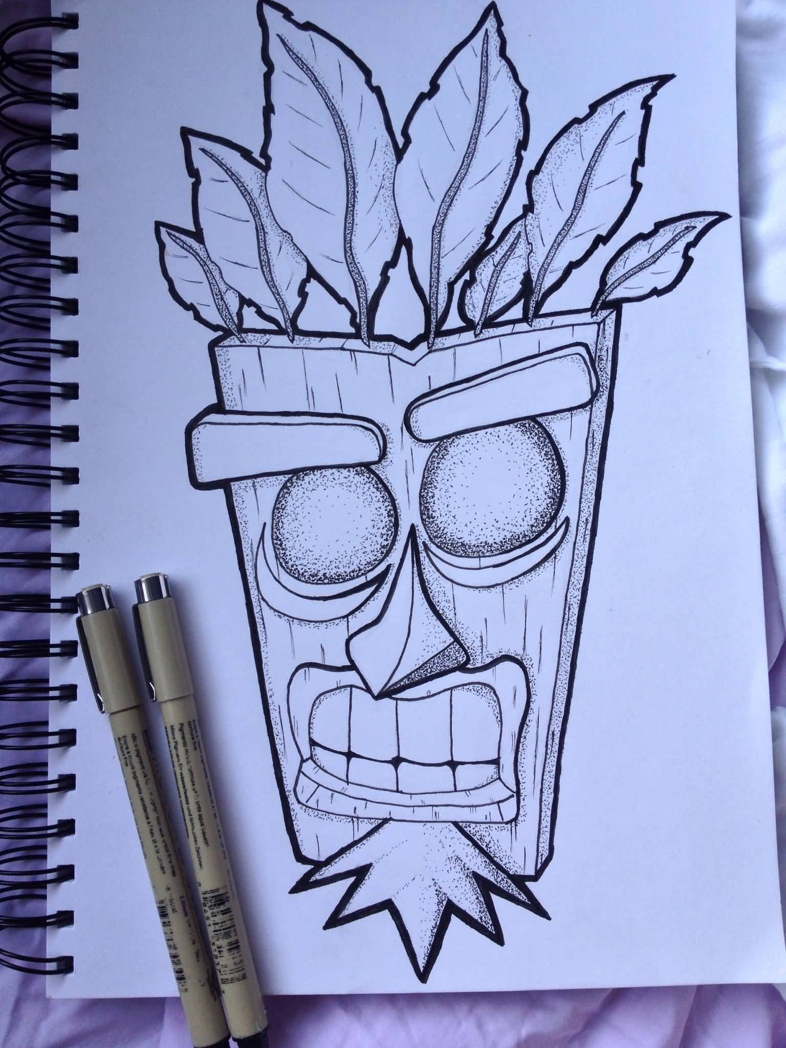 Crash Bandicoot Mask Tattoo