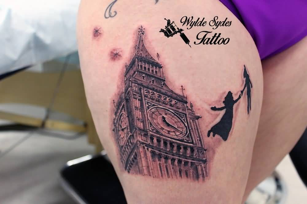amazing big ben clock tower tattoo on right thigh. Black Bedroom Furniture Sets. Home Design Ideas
