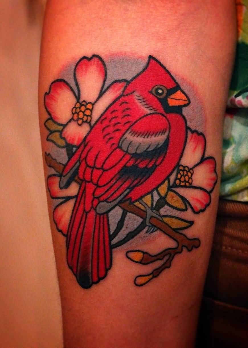 Co color cardinal red - Awesome Flowers And Cardinal Tattoo On Arm