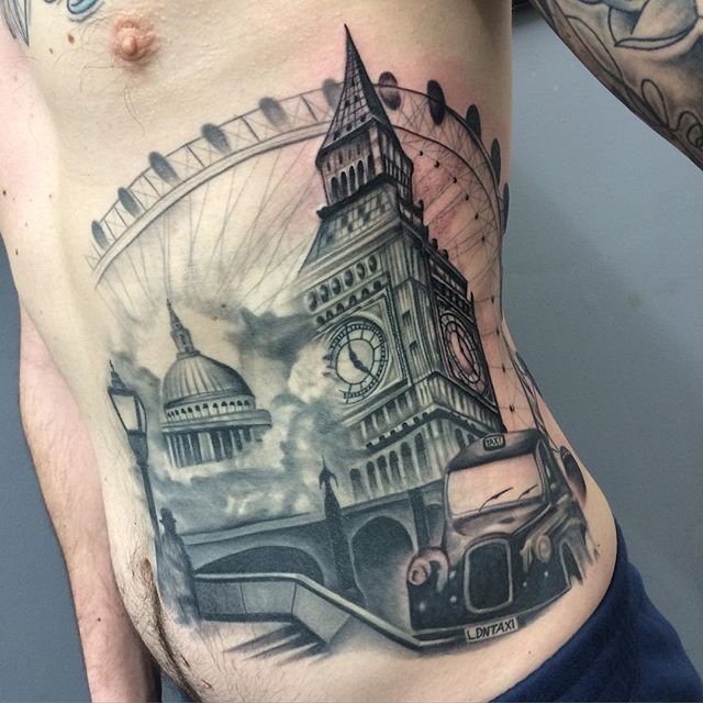 awesome colored big ben london tower tattoo on full sleeve. Black Bedroom Furniture Sets. Home Design Ideas