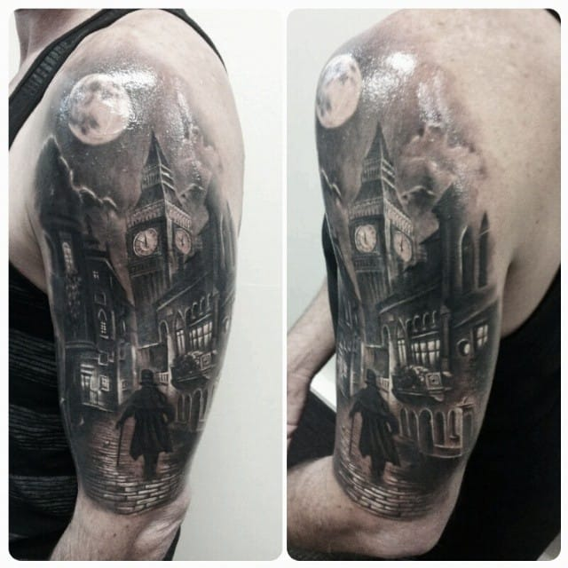 big ben victorian london tattoo on half sleeve by slabzz graham. Black Bedroom Furniture Sets. Home Design Ideas