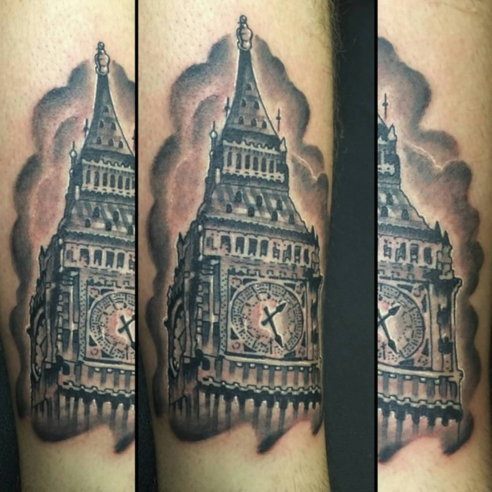 traditional london big ben tattoo on leg. Black Bedroom Furniture Sets. Home Design Ideas