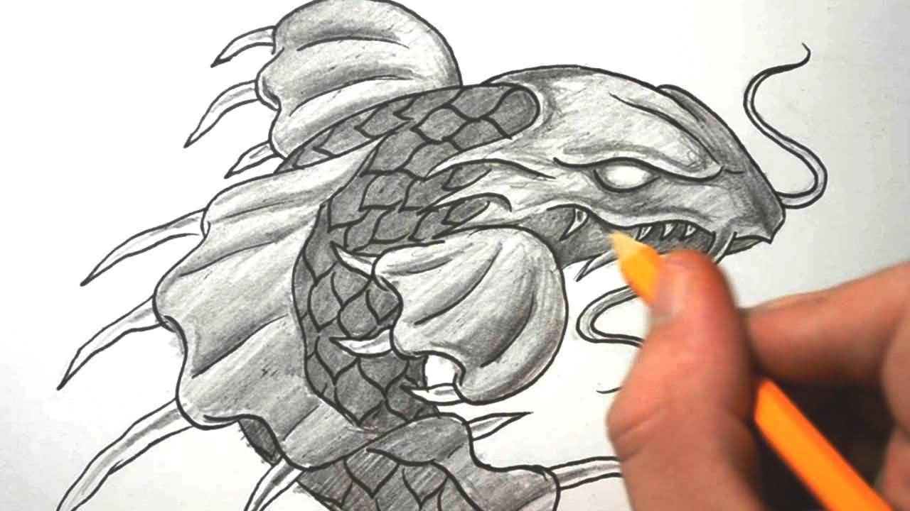 24 latest dragon fish tattoo designs for Grey koi fish