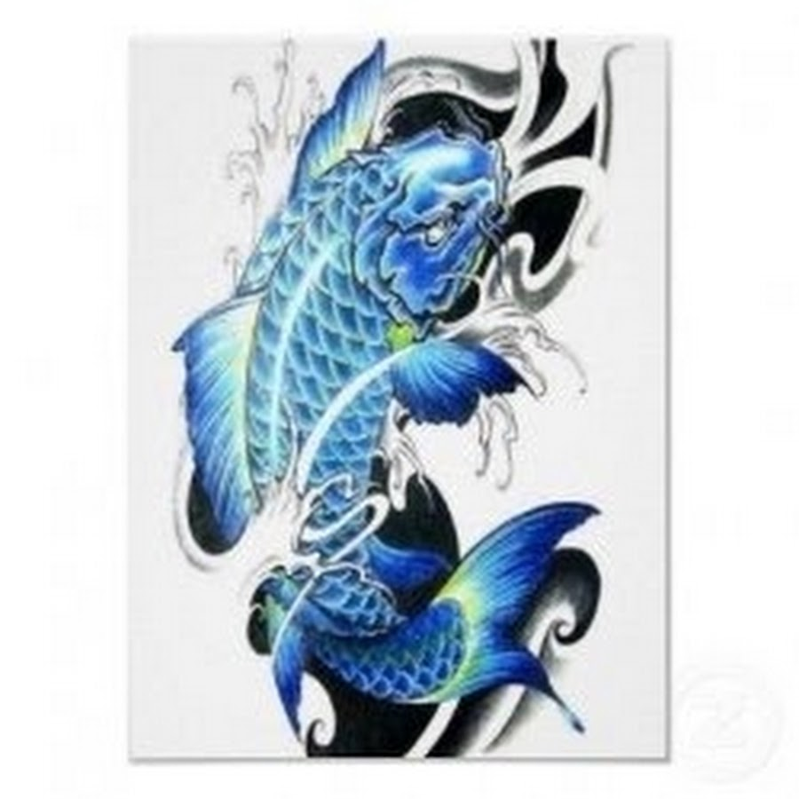 blue dragon fish tattoo design sample. Black Bedroom Furniture Sets. Home Design Ideas