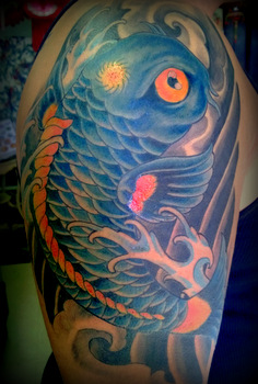 22 japanese dragon fish tattoos for Blue koi fish tattoo