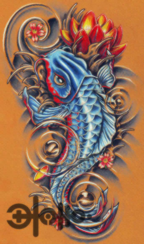 32 amazing dragon fish tattoos for Blue coy fish tattoo